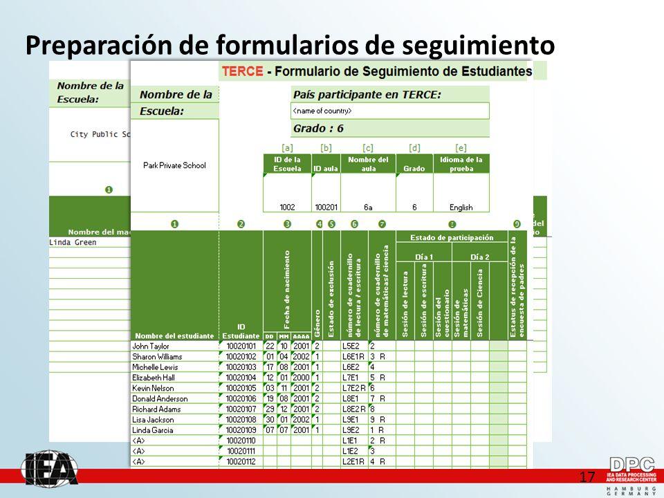 17 Preparación de formularios de seguimiento