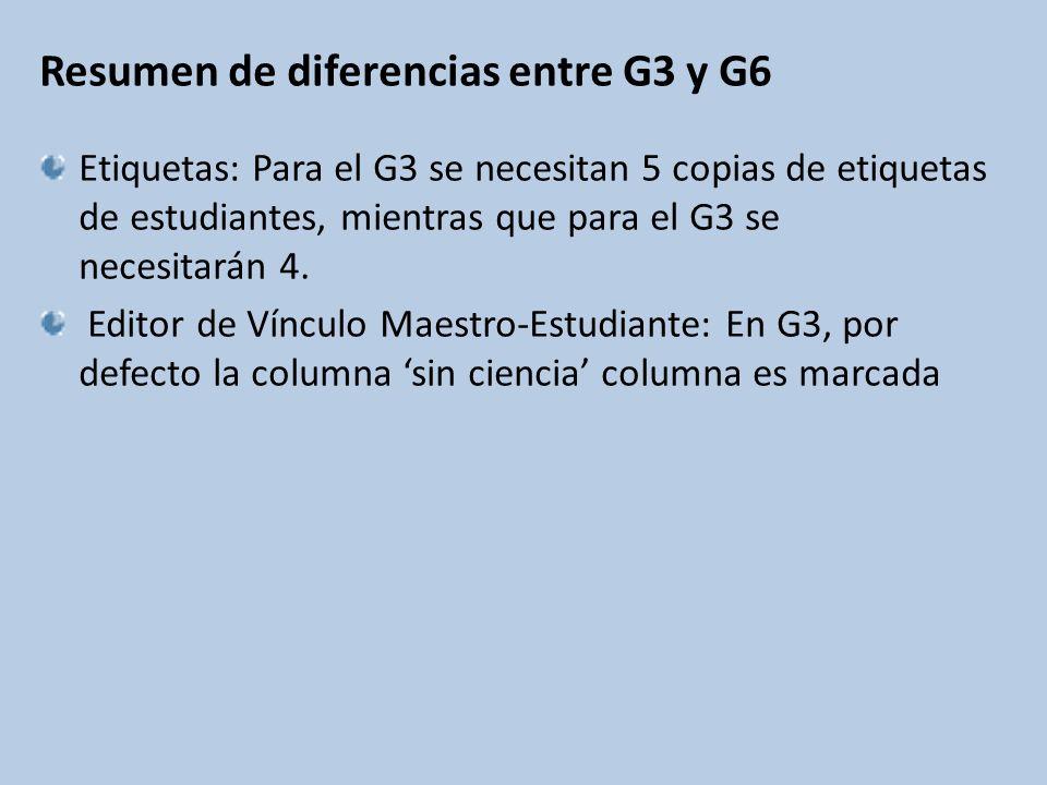 Resumen de diferencias entre G3 y G6 Etiquetas: Para el G3 se necesitan 5 copias de etiquetas de estudiantes, mientras que para el G3 se necesitarán 4.