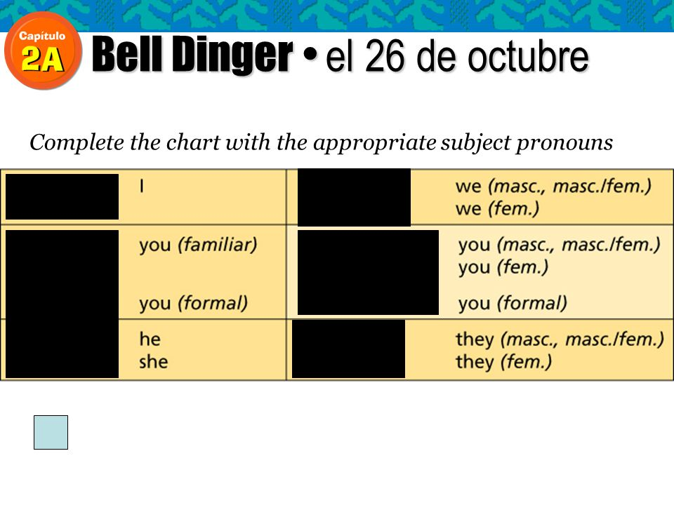 Bell Dinger el 26 de octubre Complete the chart with the appropriate subject pronouns