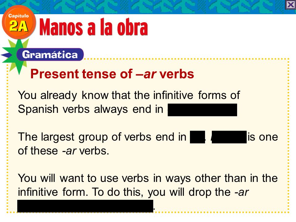 You already know that the infinitive forms of Spanish verbs always end in -ar, -er, or -ir.