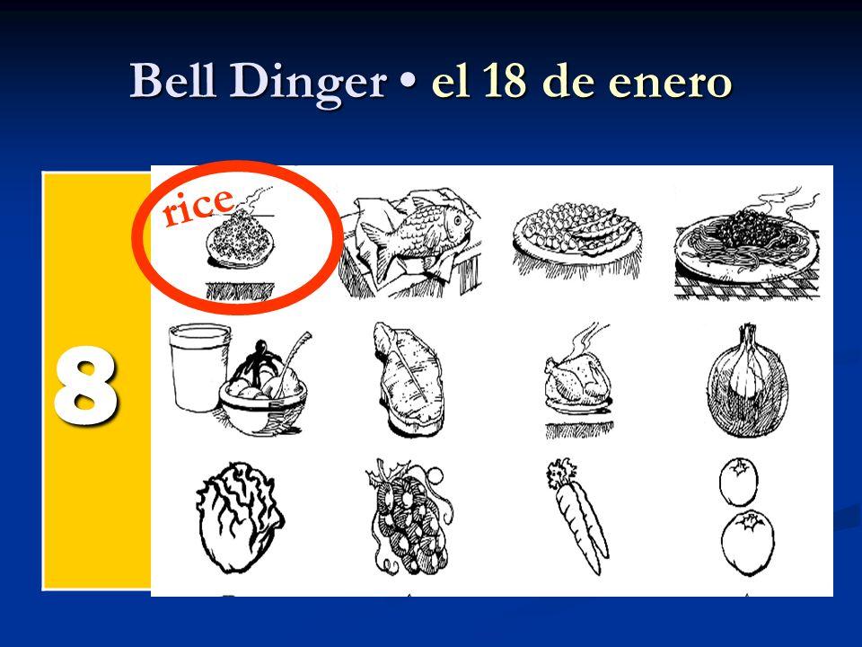 Bell Dinger el 18 de enero 8 el pollel pollel pollel poll el pesc ado el arroz rice