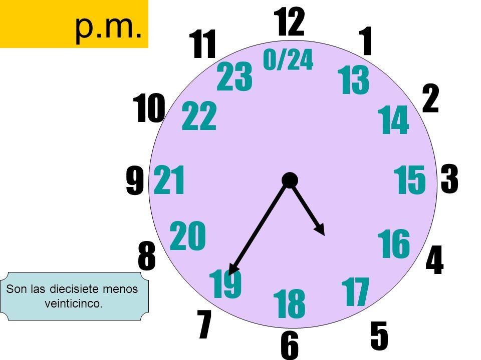 12 6 3 9 1 2 17 4 11 10 7 8 1521 13 14 5 16 23 22 19 20 0/24 18 p.m. Son las diecisiete menos veinticinco.