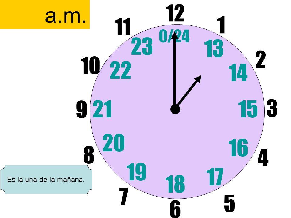 12 6 3 9 1 2 17 4 11 10 7 8 1521 13 14 5 16 23 22 19 20 0/24 18 a.m. Es la una de la mañana.