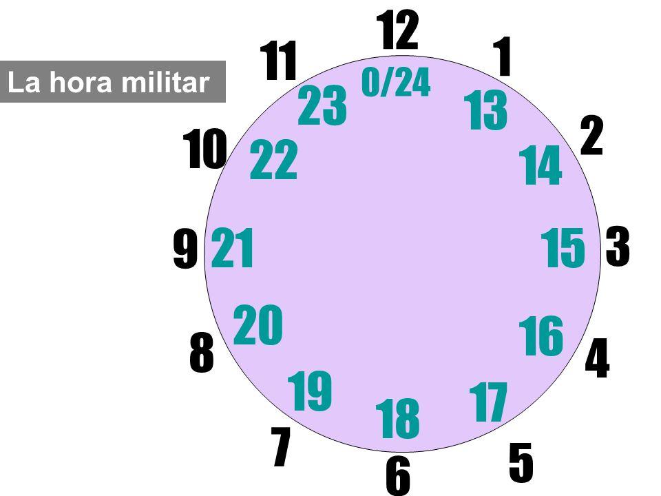 La hora militar 12 6 3 9 1 2 17 4 11 10 7 8 1521 13 14 5 16 23 22 19 20 0/24 18