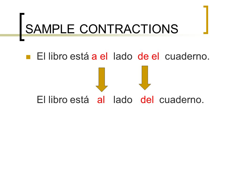 SPANISH CONTRACTIONS THERE ARE ONLY 2 CONTRACTIONS IN SPANISH!!!!!!!!!!!!!!!!!.