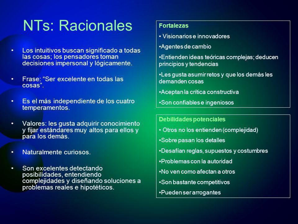 NTs: Racionales Los intuitivos buscan significado a todas las cosas; los pensadores toman decisiones impersonal y lógicamente. Frase: Ser excelente en