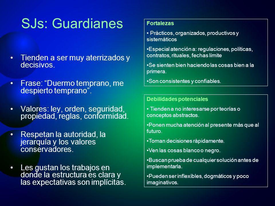 SJs: Guardianes Tienden a ser muy aterrizados y decisivos. Frase: Duermo temprano, me despierto temprano. Valores: ley, orden, seguridad, propiedad, r