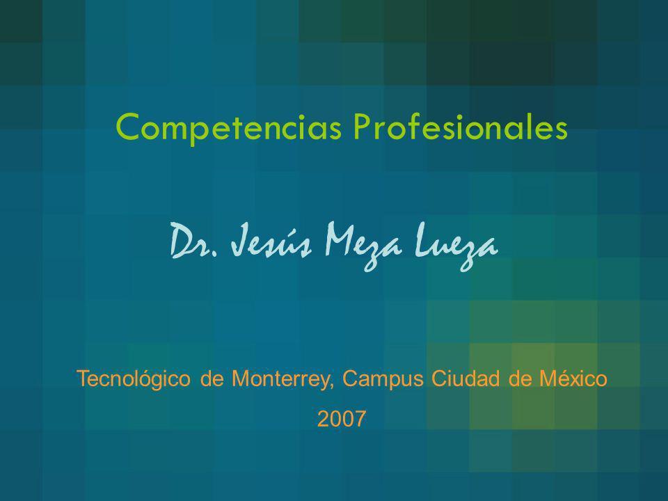 Competencias Profesionales Dr. Jesús Meza Lueza Tecnológico de Monterrey, Campus Ciudad de México 2007