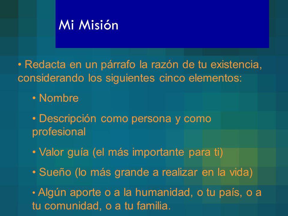 Mi Misión Redacta en un párrafo la razón de tu existencia, considerando los siguientes cinco elementos: Nombre Descripción como persona y como profesi