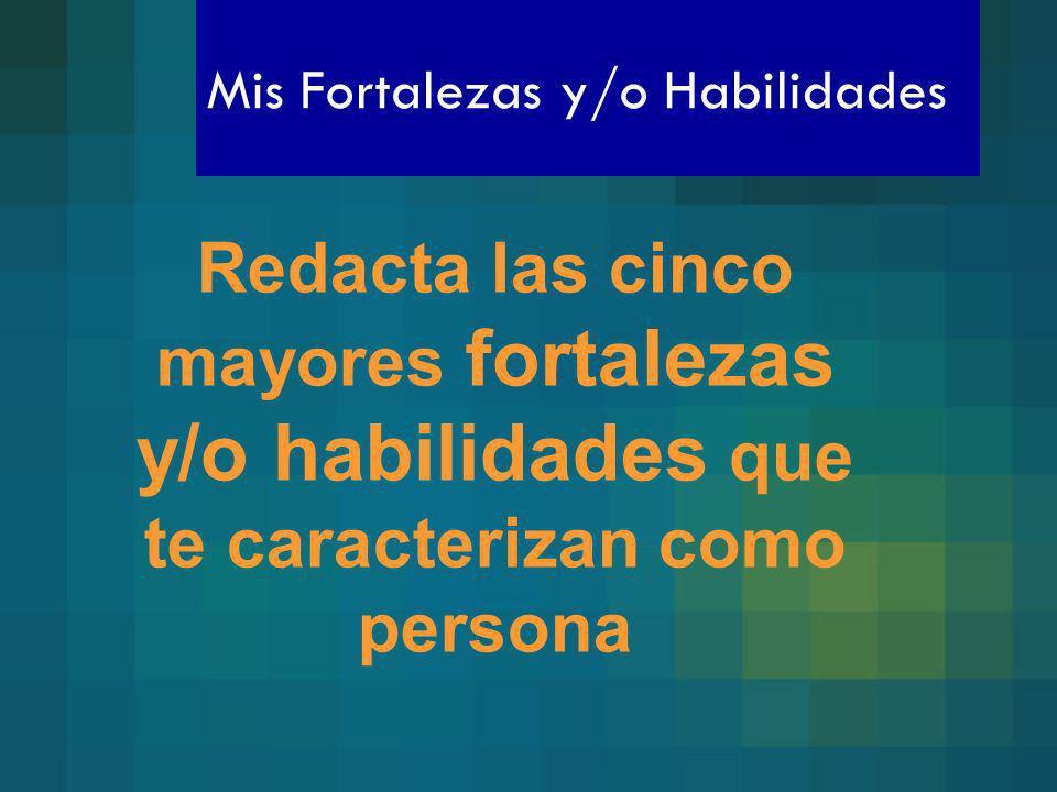 Mis Fortalezas y/o Habilidades Redacta las cinco mayores fortalezas y/o habilidades que te caracterizan como persona