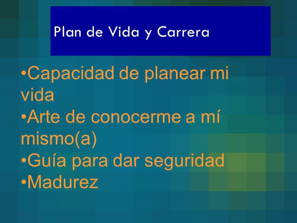Plan de Vida y Carrera Capacidad de planear mi vida Arte de conocerme a mí mismo(a) Guía para dar seguridad Madurez