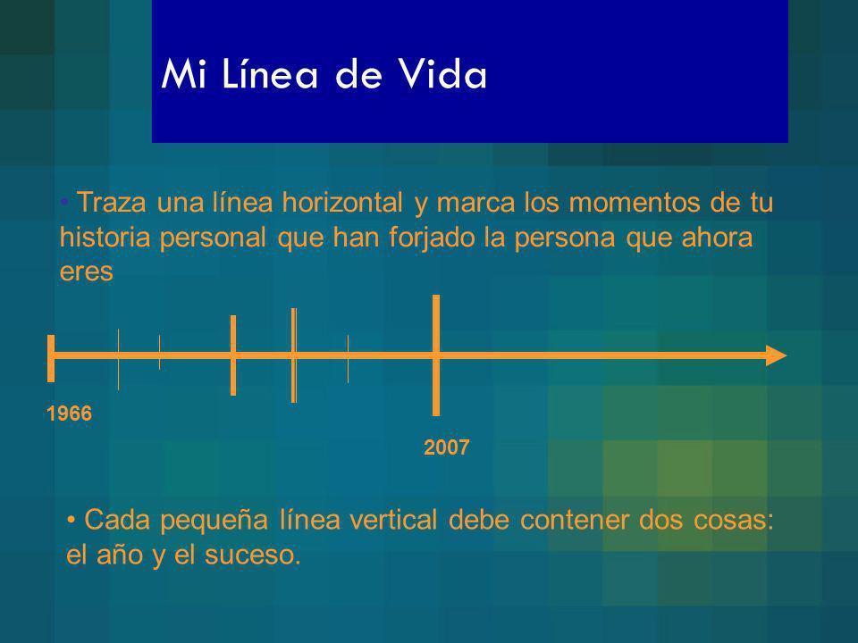Mi Línea de Vida Traza una línea horizontal y marca los momentos de tu historia personal que han forjado la persona que ahora eres 1966 2007 Cada pequ