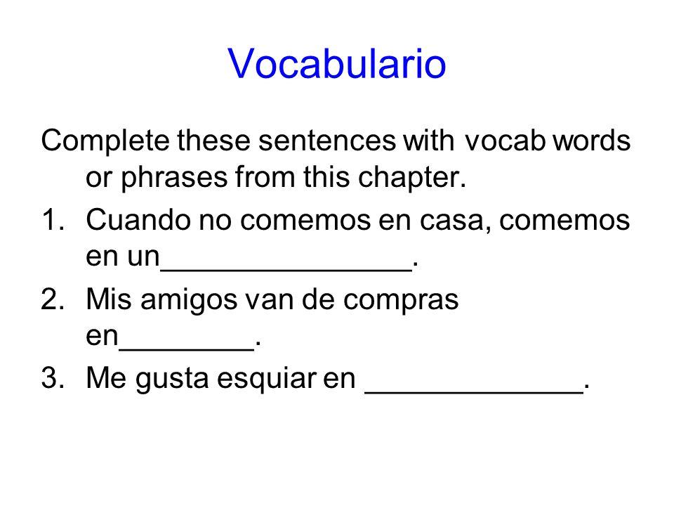 Vocabulario Complete these sentences with vocab words or phrases from this chapter. 1.Cuando no comemos en casa, comemos en un_______________. 2.Mis a