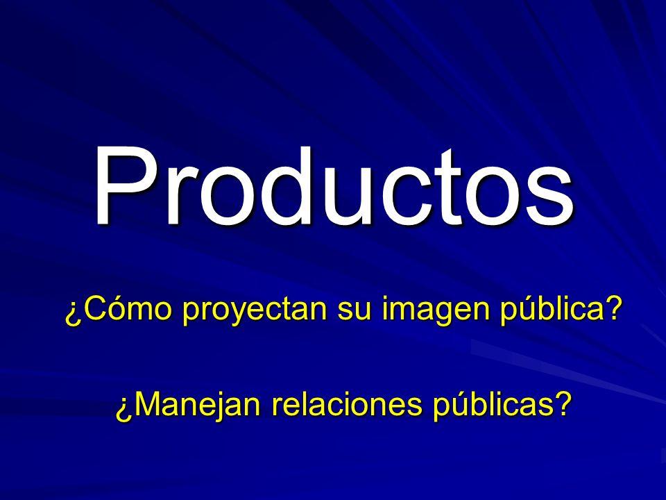 Productos ¿Cómo proyectan su imagen pública ¿Manejan relaciones públicas