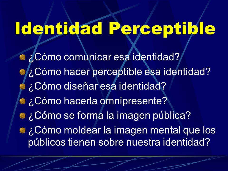 Identidad Perceptible ¿Cómo comunicar esa identidad? ¿Cómo hacer perceptible esa identidad? ¿Cómo diseñar esa identidad? ¿Cómo hacerla omnipresente? ¿