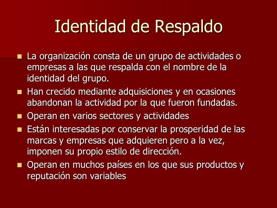 Identidad de Respaldo La organización consta de un grupo de actividades o empresas a las que respalda con el nombre de la identidad del grupo. La orga