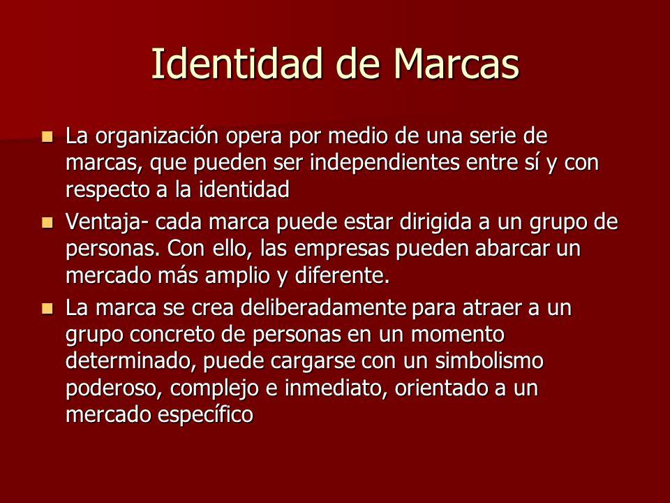 Identidad de Marcas La organización opera por medio de una serie de marcas, que pueden ser independientes entre sí y con respecto a la identidad La or
