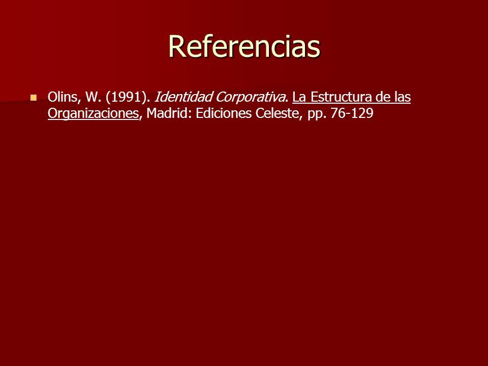 Referencias Olins, W. (1991). Identidad Corporativa. La Estructura de las Organizaciones, Madrid: Ediciones Celeste, pp. 76-129