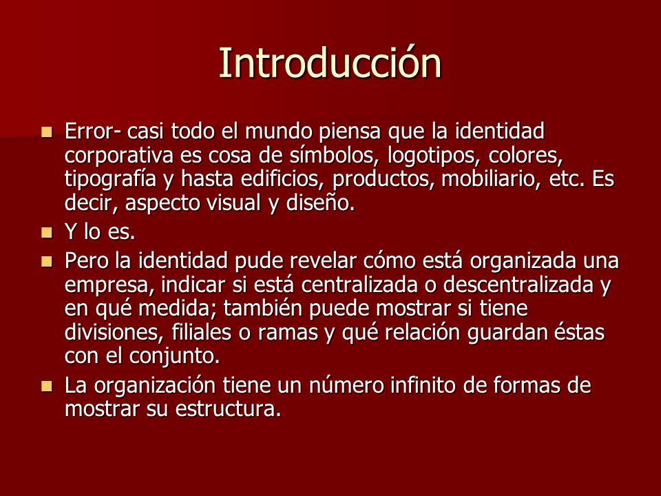 Introducción Error- casi todo el mundo piensa que la identidad corporativa es cosa de símbolos, logotipos, colores, tipografía y hasta edificios, prod