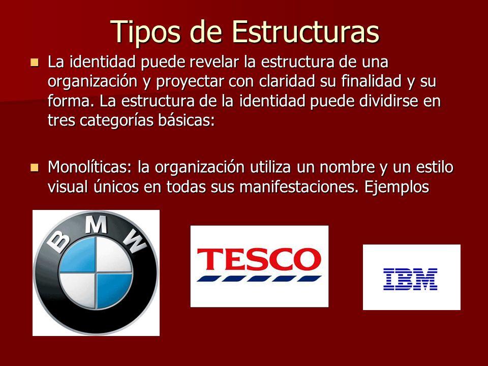Tipos de Estructuras De respaldo: la organización consta de un grupo de actividades o empresas a las que respalda con el nombre y la identidad del grupo.