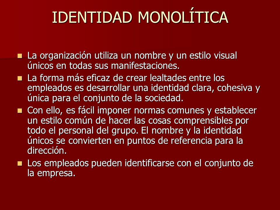 IDENTIDAD MONOLÍTICA La organización utiliza un nombre y un estilo visual únicos en todas sus manifestaciones. La organización utiliza un nombre y un