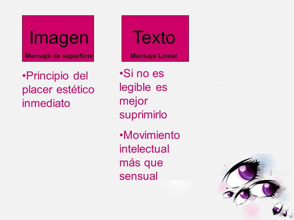 Imagen Mensaje de superficie Texto Mensaje Lineal Si no es legible es mejor suprimirlo Movimiento intelectual más que sensual Principio del placer est