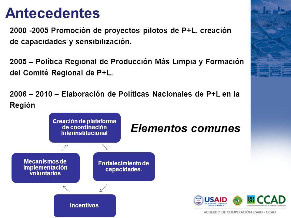 Antecedentes 2005 – Política Regional de Producción Más Limpia y Formación del Comité Regional de P+L. 2006 – 2010 – Elaboración de Políticas Nacional