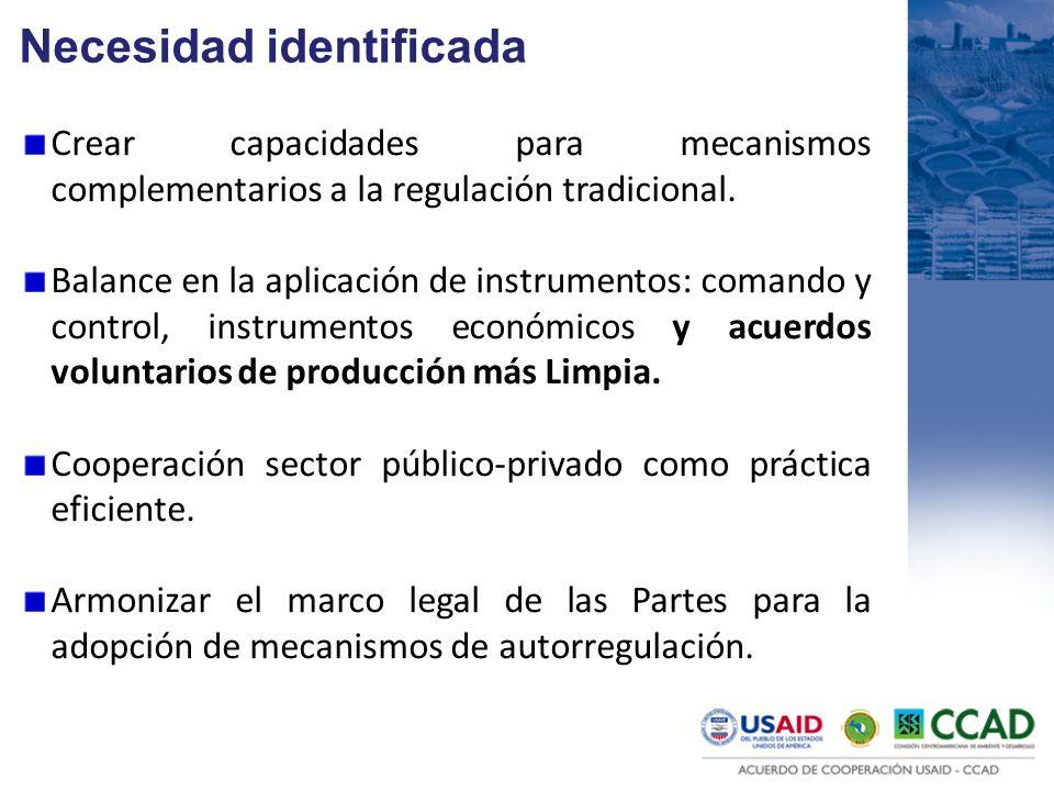 Necesidad identificada Crear capacidades para mecanismos complementarios a la regulación tradicional. Balance en la aplicación de instrumentos: comand