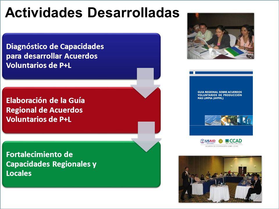 Actividades Desarrolladas Diagnóstico de Capacidades para desarrollar Acuerdos Voluntarios de P+L Elaboración de la Guía Regional de Acuerdos Voluntar
