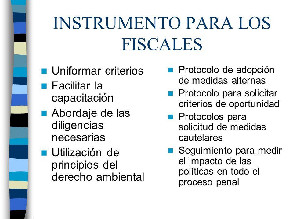 INSTRUMENTO PARA LOS FISCALES Uniformar criterios Facilitar la capacitación Abordaje de las diligencias necesarias Utilización de principios del derec