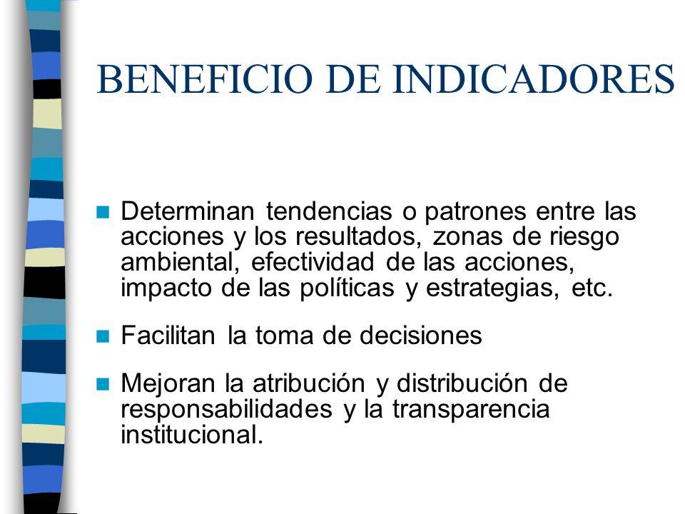 BENEFICIO DE INDICADORES Determinan tendencias o patrones entre las acciones y los resultados, zonas de riesgo ambiental, efectividad de las acciones,