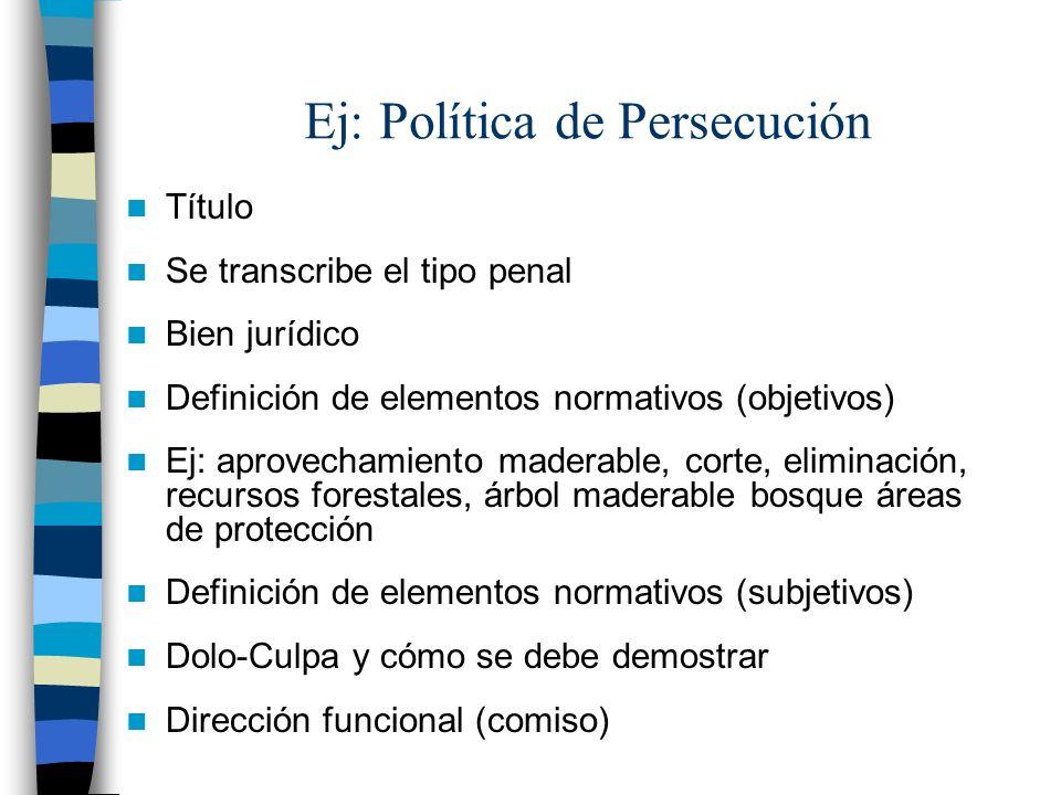 Ej: Política de Persecución Título Se transcribe el tipo penal Bien jurídico Definición de elementos normativos (objetivos) Ej: aprovechamiento madera