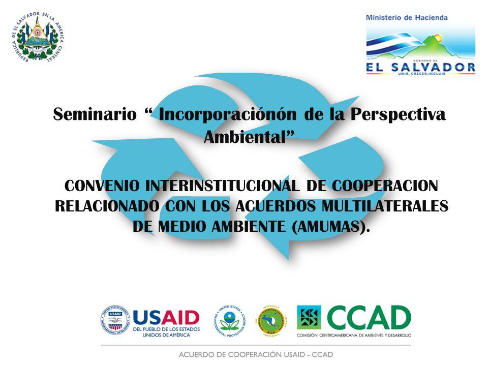CONVENIO INTERINSTITUCIONAL DE COOPERACION RELACIONADO CON LOS ACUERDOS MULTILATERALES DE MEDIO AMBIENTE (AMUMAS). Seminario Incorporaciónón de la Per
