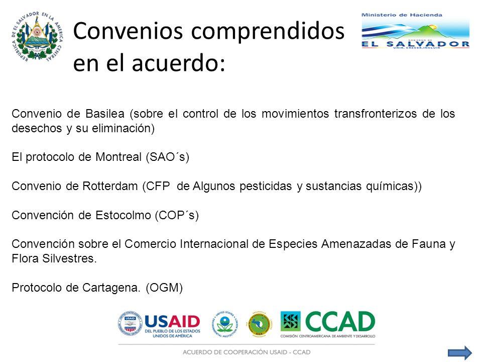 Convenio de Basilea (sobre el control de los movimientos transfronterizos de los desechos y su eliminación) El protocolo de Montreal (SAO´s) Convenio