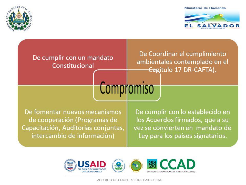 De cumplir con un mandato Constitucional De Coordinar el cumplimiento ambientales contemplado en el Capitulo 17 DR-CAFTA). De fomentar nuevos mecanism