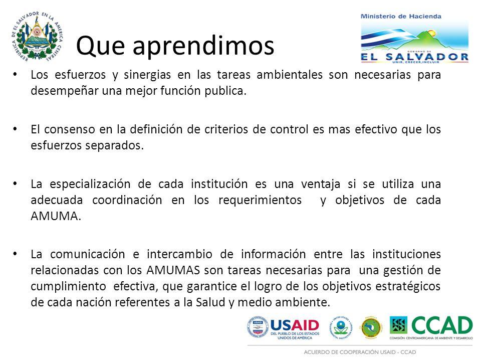 Que aprendimos Los esfuerzos y sinergias en las tareas ambientales son necesarias para desempeñar una mejor función publica. El consenso en la definic