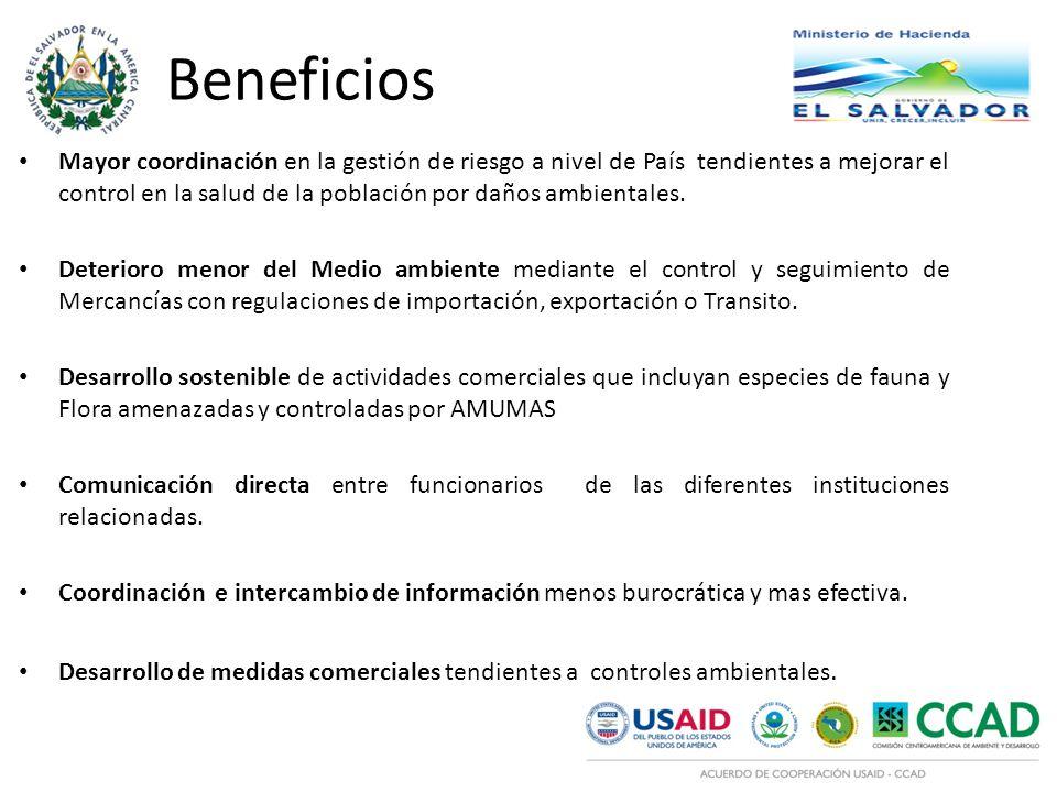 Beneficios Mayor coordinación en la gestión de riesgo a nivel de País tendientes a mejorar el control en la salud de la población por daños ambientales.