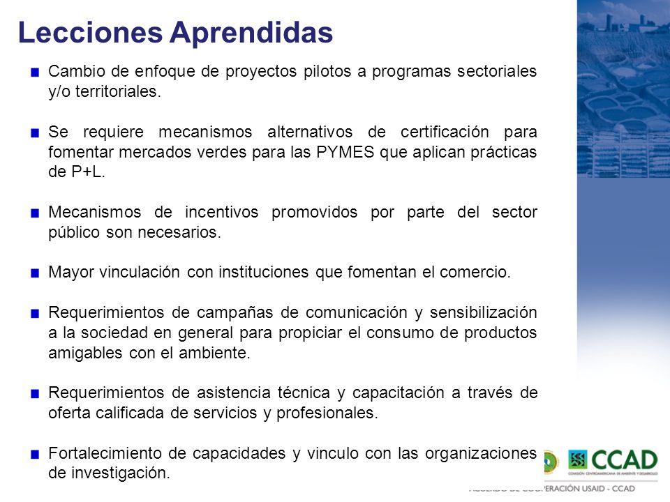 Lecciones Aprendidas Cambio de enfoque de proyectos pilotos a programas sectoriales y/o territoriales. Se requiere mecanismos alternativos de certific