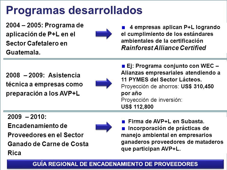 2004 – 2005: Programa de aplicación de P+L en el Sector Cafetalero en Guatemala. Programas desarrollados 4 empresas aplican P+L logrando el cumplimien