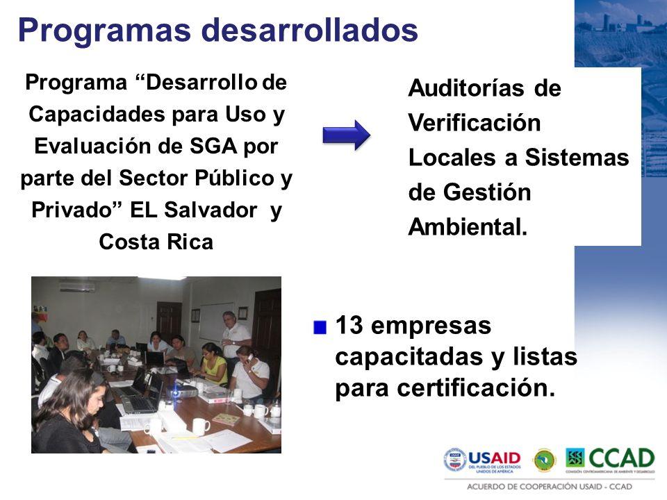Programas desarrollados Auditorías de Verificación Locales a Sistemas de Gestión Ambiental. Programa Desarrollo de Capacidades para Uso y Evaluación d