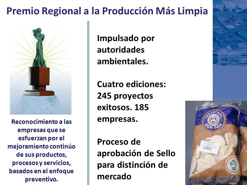 Premio Regional a la Producción Más Limpia Impulsado por autoridades ambientales. Cuatro ediciones: 245 proyectos exitosos. 185 empresas. Proceso de a