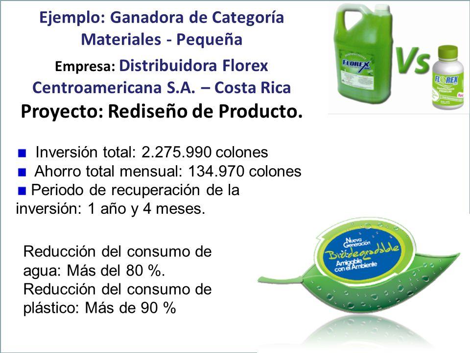 Ejemplo: Ganadora de Categoría Materiales - Pequeña Empresa: Distribuidora Florex Centroamericana S.A. – Costa Rica Proyecto: Rediseño de Producto. In