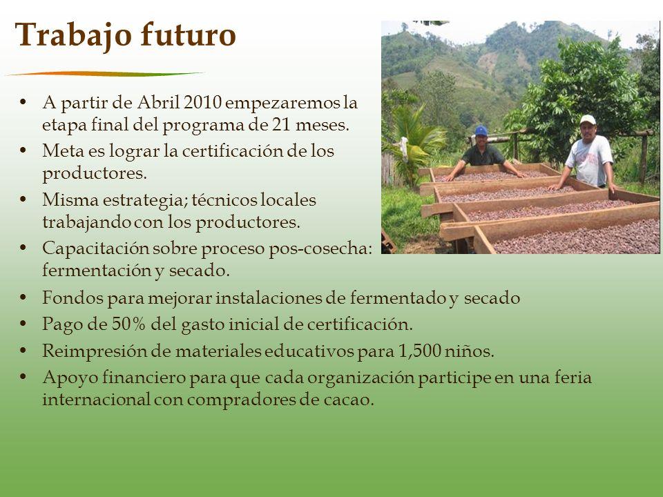 Trabajo futuro A partir de Abril 2010 empezaremos la etapa final del programa de 21 meses.