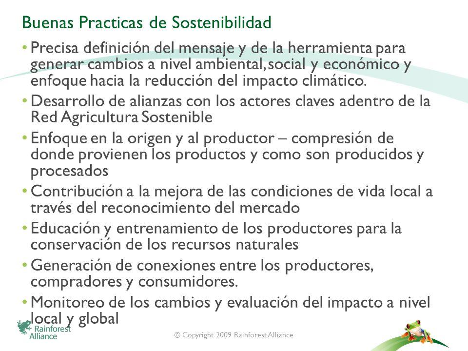 © Copyright 2009 Rainforest Alliance Buenas Practicas de Sostenibilidad Precisa definición del mensaje y de la herramienta para generar cambios a nive