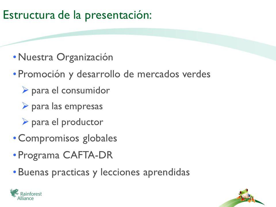 Estructura de la presentación: Nuestra Organización Promoción y desarrollo de mercados verdes para el consumidor para las empresas para el productor C