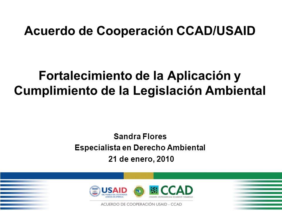 Acuerdo de Cooperación CCAD/USAID Fortalecimiento de la Aplicación y Cumplimiento de la Legislación Ambiental Sandra Flores Especialista en Derecho Ambiental 21 de enero, 2010