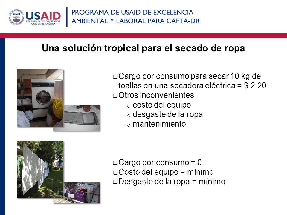 Una solución tropical para el secado de ropa Cargo por consumo para secar 10 kg de toallas en una secadora eléctrica = $ 2.20 Otros inconvenientes o c