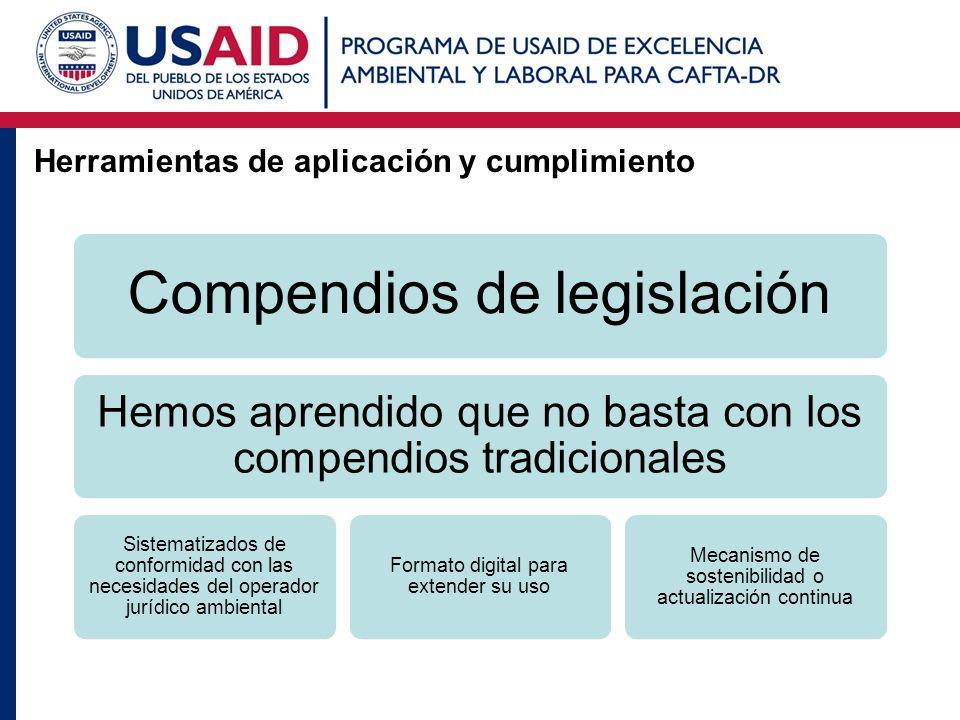 Herramientas de aplicación y cumplimiento Compendios de legislación Hemos aprendido que no basta con los compendios tradicionales Sistematizados de co