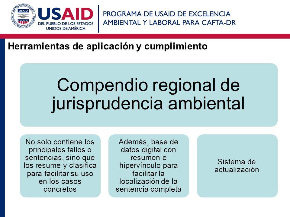 Herramientas de aplicación y cumplimiento Compendio regional de jurisprudencia ambiental No solo contiene los principales fallos o sentencias, sino qu