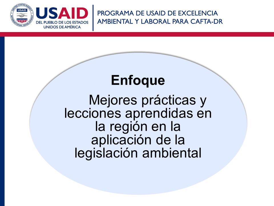Enfoque Mejores prácticas y lecciones aprendidas en la región en la aplicación de la legislación ambiental Enfoque Mejores prácticas y lecciones apren